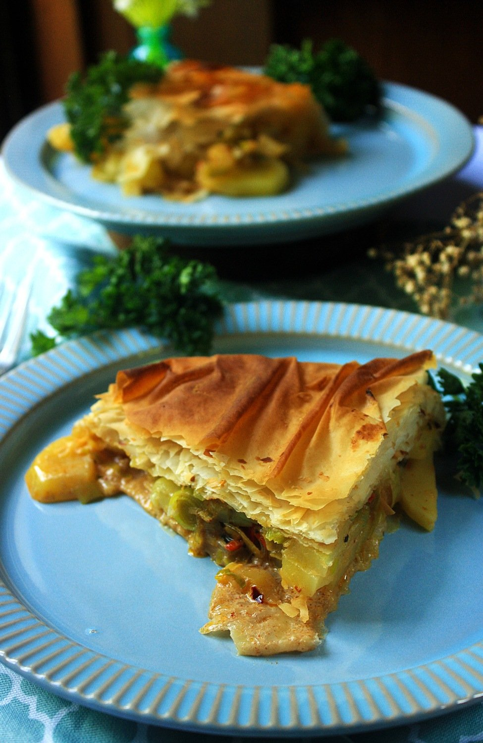Spicy potato and leek filo pie