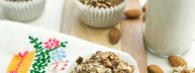 High Protein Gluten Free Breakfast Muffins with Almonds and Vanilla flavour portrait