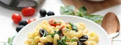 Pasta with Olives, Rocket and Roasted Tomatoes single portrait