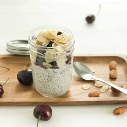 Chia Pudding with Roasted Almond and Cherry