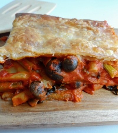 Puff Pastry Lasagne with White Beans, Spinach and Mushrooms