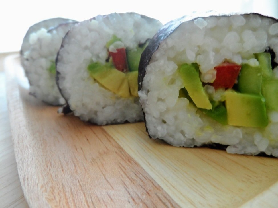 Vegan Sushi with Avocado, Bell Pepper and Cucumber