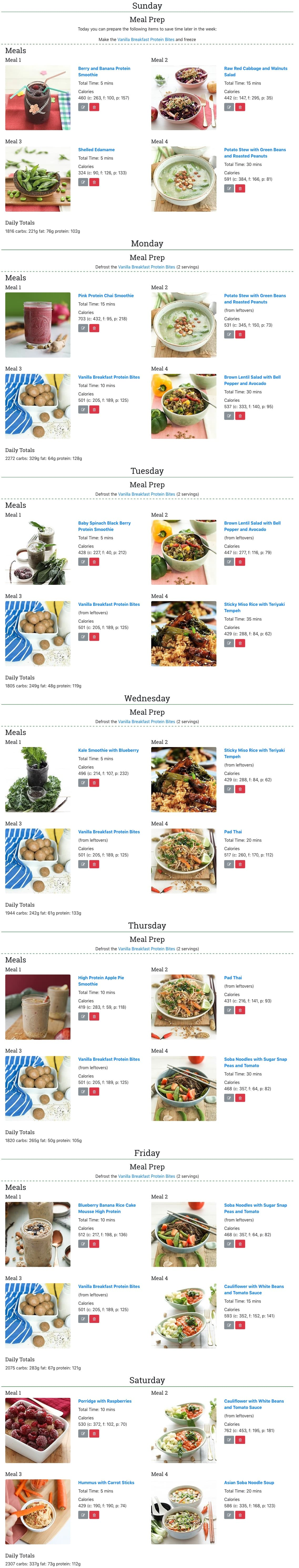One week high protein vegan meal plan for women